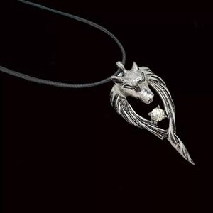 Other - White Crystal Wolf Necklace